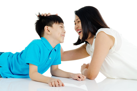 Asian mother and son Stock Photo