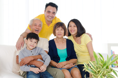Portrait of asian three generations family photo