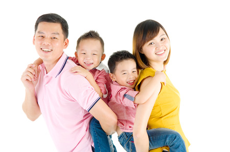 Studio portrait of beautiful asian family photo