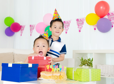 Birthday party of asian kid photo