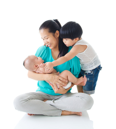 new mothers: Asian family Stock Photo