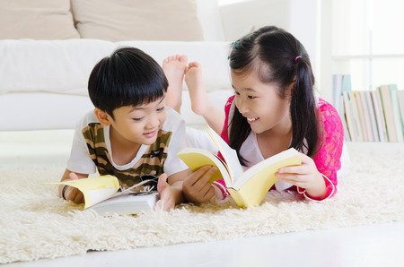 kids reading at home