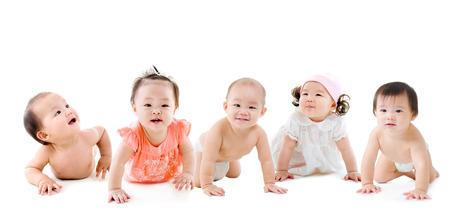 b�b� filles: Groupe de b�b�s asiatiques Banque d'images