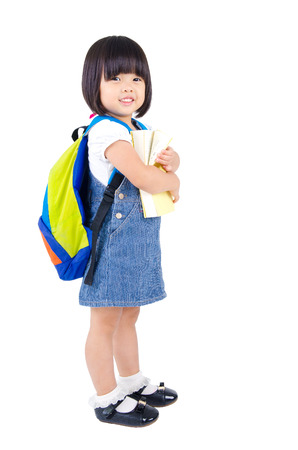 book bags: Lovely asian kindergarten student Stock Photo