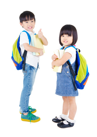 book bags: Portrait of two beautiful asian kindergarten students Stock Photo