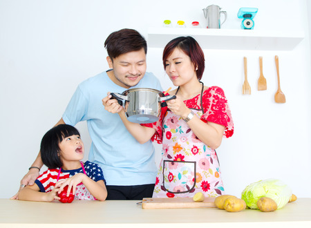 home cooked: Asian man smelled his wife home cooked food Stock Photo