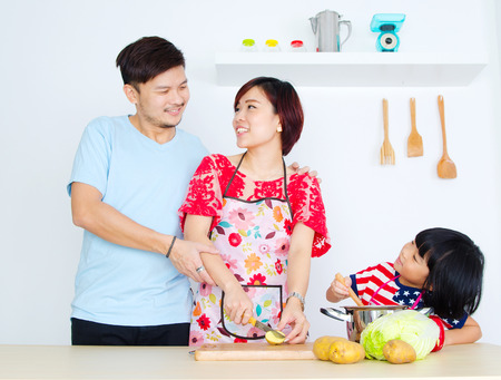 asian cooking: Asian family kitchen lifestlye.