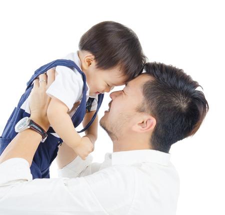 アジアの父と息子 写真素材