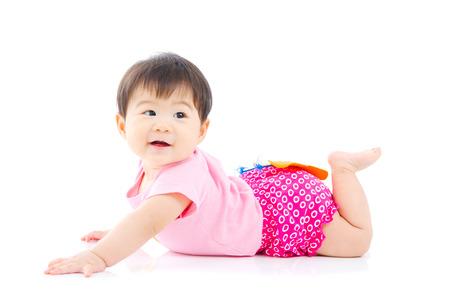 bebe gateando: Retrato de una hermosa niña asiática