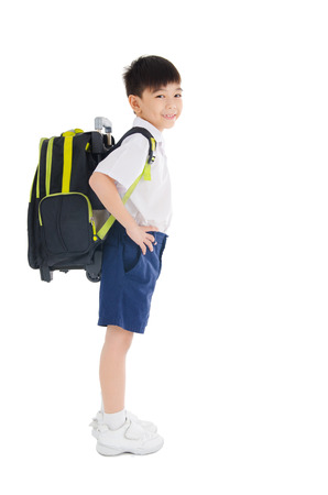 Full body shot of asian primary school student Stock Photo