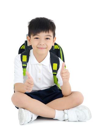 Aziatische student zittend op de vloer Stockfoto