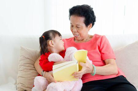 grandkid: Asian senior woman grandchild