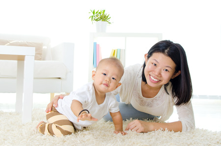 asians: Asian mother and baby Stock Photo