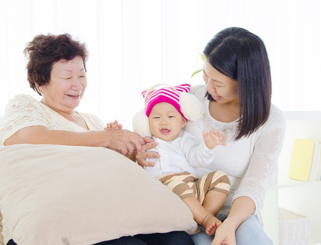 three generations of women: Asian family enjoying family time