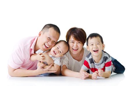 Indoor portrait of asian family Standard-Bild
