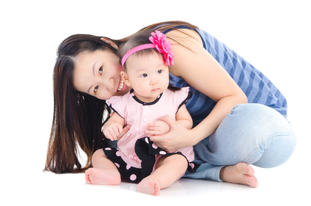 asian toddler: Asian mother and baby Stock Photo