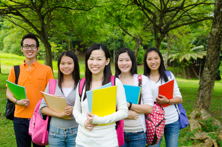 Group of asian college students Stock Photo