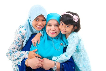 Malay woman and daughters