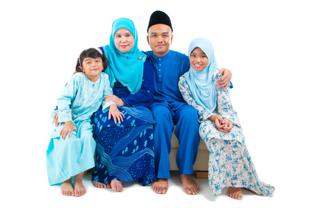 indonesian: Indoor portrait of malay family