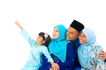 girl pointing: Malay family