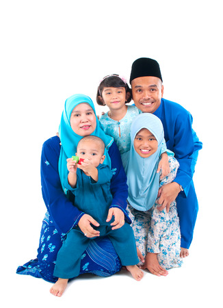 malay boy: Portrait of a cheerful muslim family Stock Photo