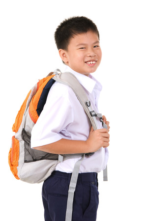 asian boy: Cheerful asian primary school boy