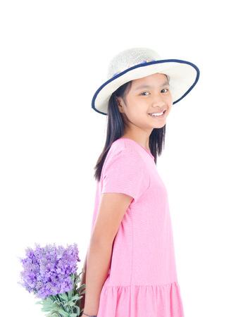 girl holding flower: Asian girl holding flower