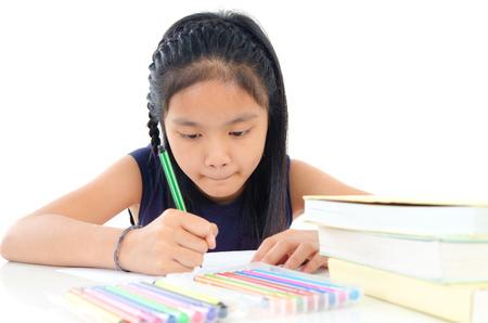 kids writing: Child education Stock Photo