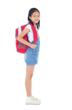 asia children: Asian school child carry school bag Stock Photo