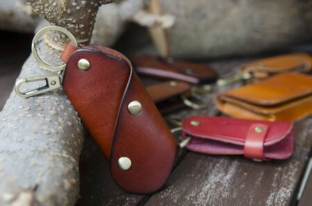 key in chain: Leather key holder