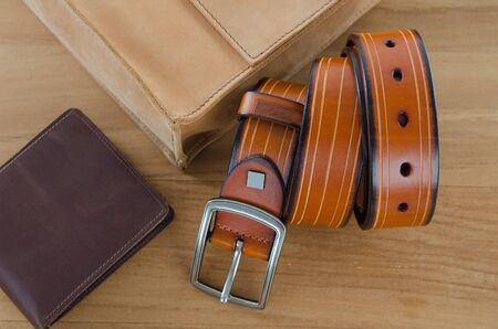 men accessories on wooden background Stock Photo