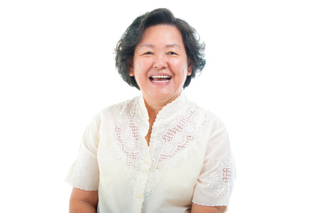 Portrait of a cheerful asian senior woman Stock Photo