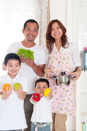 southeast asian: healthy eating concept of asian family