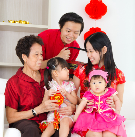 celebrate year: Asian family celebrate chinese new year