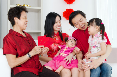 chinese tradition: Asian family celebrate chinese new year
