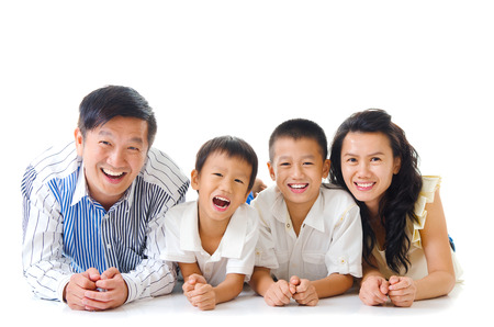 Indoor portrait of asian family Banque d'images