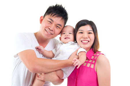 parents with baby: Portrait of asian family isolated on white background Stock Photo