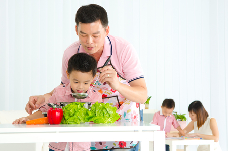 asian adult: Kitchen lifestyle of asian family