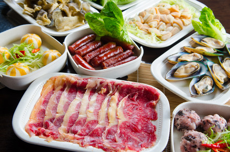 colorfulness: Ingredients for hot pot soup Stock Photo