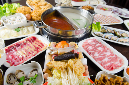 dining set: Hot pot cook with wide variety of ingredients