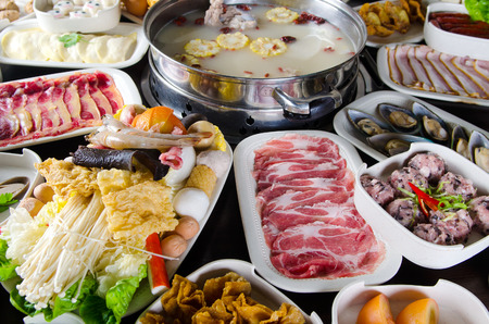 hot pot: hot pot soup with wide variety of ingredients