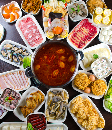 Spicy hot pot soup with wide variety of ingredients