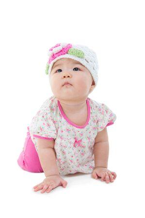 乳幼児: アジアの赤ちゃん床にクロールの屋内ポートレート 写真素材