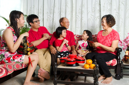 celebrate year: Asian three generations family celebrate chinese new year