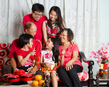 three generations of women: Asian three generations family celebrate chinese new year