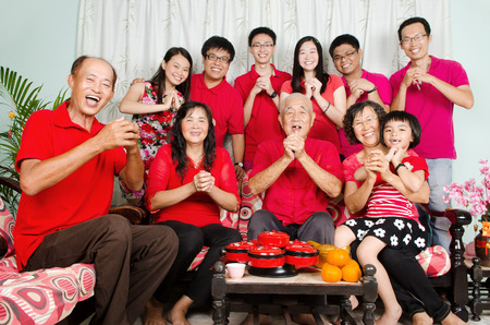 three wishes: Asian three generations family celebrate chinese new year