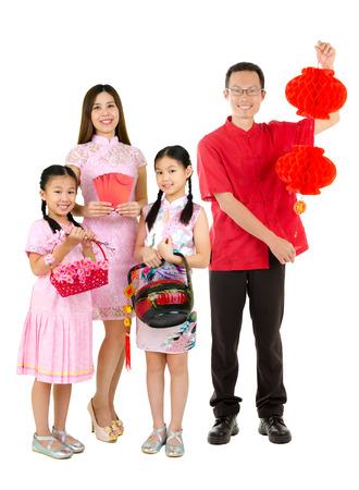Famille asiatique de célébrer le Nouvel An chinois