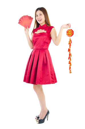red packet: Beautiful asian woman holding red packet and firecracker decoration. Chinese new year concept.