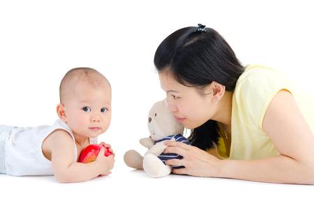 嬰兒: 亞洲媽媽和寶寶 版權商用圖片