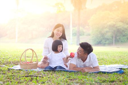 family picnic: picnic familiar asiático Foto de archivo
